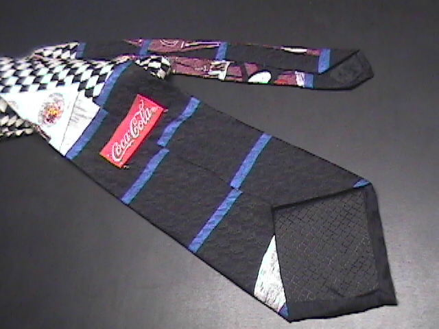 Coca Cola Neck Tie Waiter with Tray and Pause for Refreshment Message Silk Brown