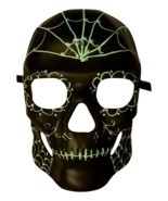 Black Green Glow in Dark Spiderweb Halloween Skull Masquerade Mask - £32.76 GBP