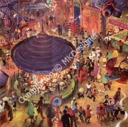 Old Time Carnival Artwork 12 Scenes - Digital Collage Sheet