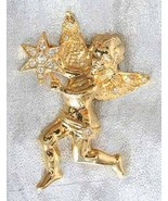 Fabulous Graziano Crystal Rhinestone Golden Christmas Angel with Star Br... - $19.75