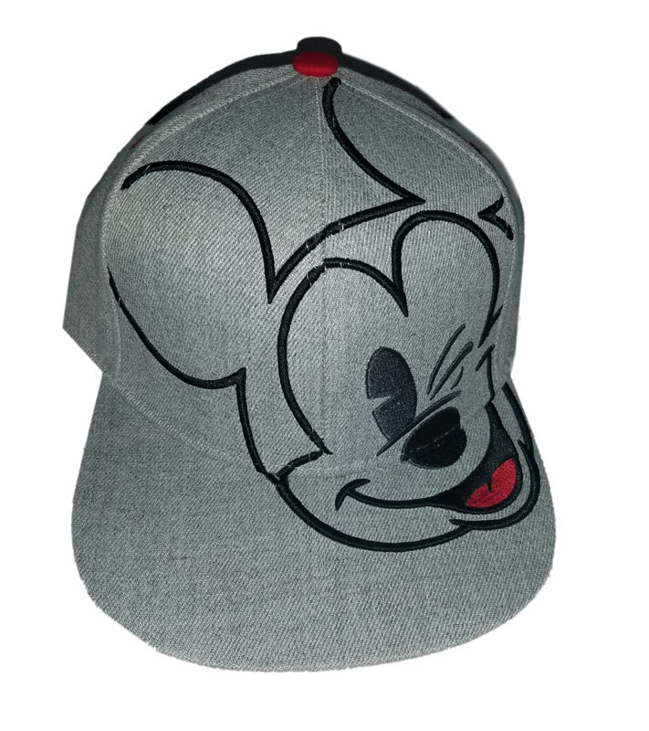 Disney Heather Grey Embroidered Mickey Mouse Brand New Snapback Cap