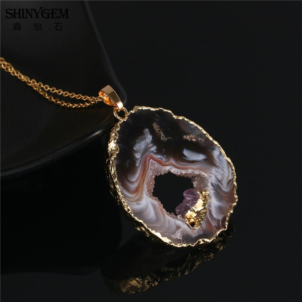 ShinyGem Lucky Black Brown Agates Pendant Necklace Hiding Small Gold Amethysts M