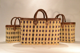 Hand woven market baskets. Nesting Set of 3: S,M,L. Purple/Natural Check.  - $119.00