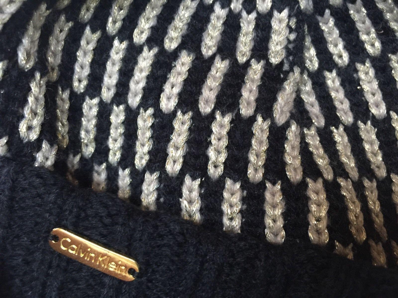 8673b603fe9 CALVIN KLEIN SPARKLE GOLD   Black Geometric Knit Womens Winter Hat BEANIE  Cap