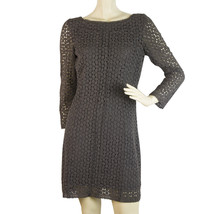 DVF Diane Von Furstenberg Caritan Charcoal Gray Crochet Mini Dress Sz 8 - $193.05