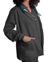 Pewter Scrub Jacket M Adar Uniforms Warm Up Top Round Neck Ring Snap New - $19.37