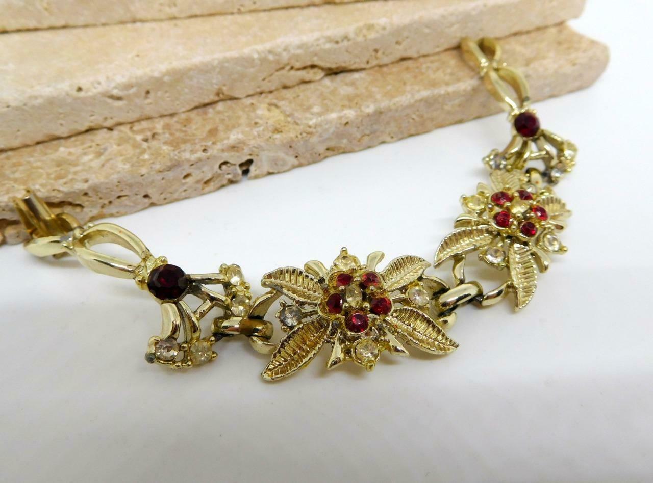 Vintage Red White Rhinestone Flower Link Bracelet BB21