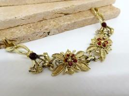 Vintage Red White Rhinestone Flower Link Bracelet BB21 - $14.84