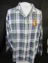 1cd669e7a9c4 DISNEY Women PJ Pajama Top Tigger Plaid Flannel big XL embroidered cotto...  -