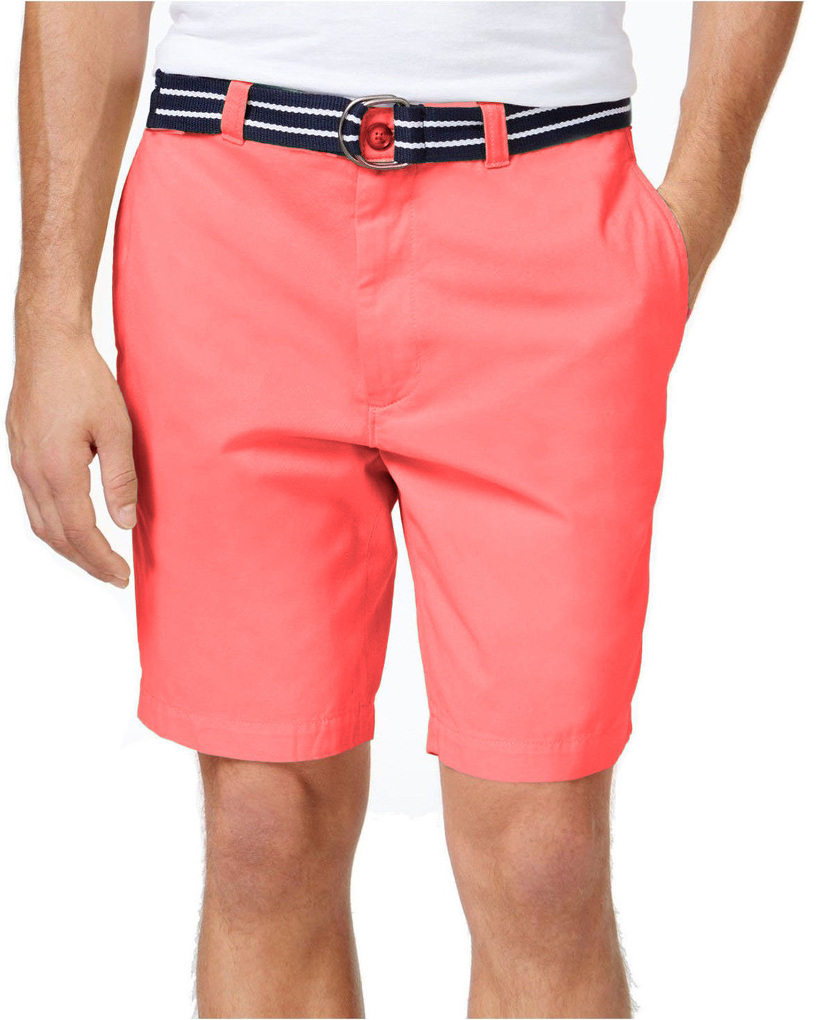 "NEW MENS CLUB ROOM FLAT FRONT 9"" CORAL COTTON BELTED CHINO SHORTS 38"
