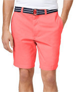 "NEW MENS CLUB ROOM FLAT FRONT 9"" CORAL COTTON BELTED CHINO SHORTS 38 - $20.17 CAD"