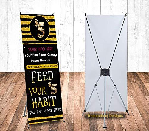 "Custom Jewelry Banner and X Stand 24""x63"" Independent Consultant for Your Boutiq"