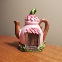 Pink Teapot Fairy House, Miniature House, Fairy Garden Crafts, Garden decor