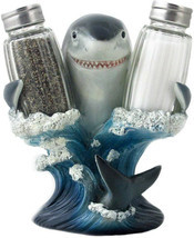 Decorative Great White Shark Glass Salt And Pepper Shaker Set With Holde... - ₹3,717.53 INR