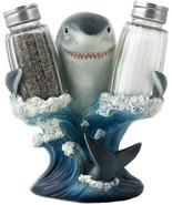 Decorative Great White Shark Glass Salt And Pepper Shaker Set With Holde... - $69.90 CAD