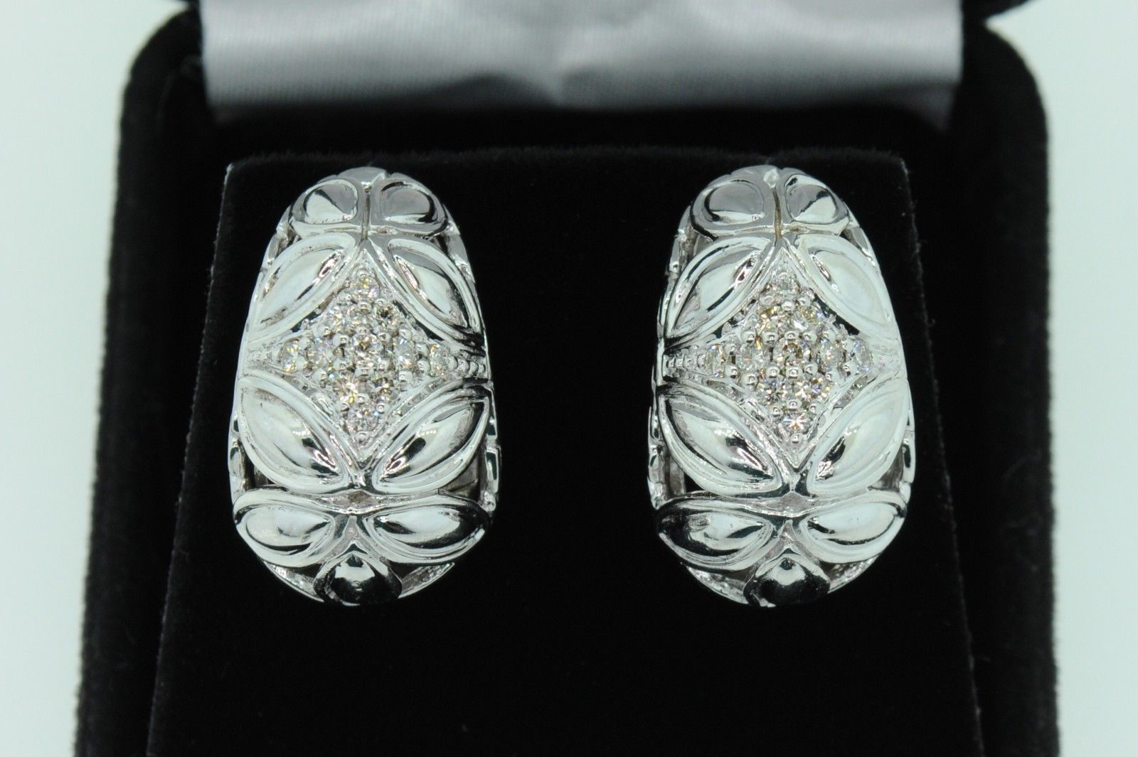 JOHN HARDY Sterling Silver and 18K Yellow Gold Diamond Earrings