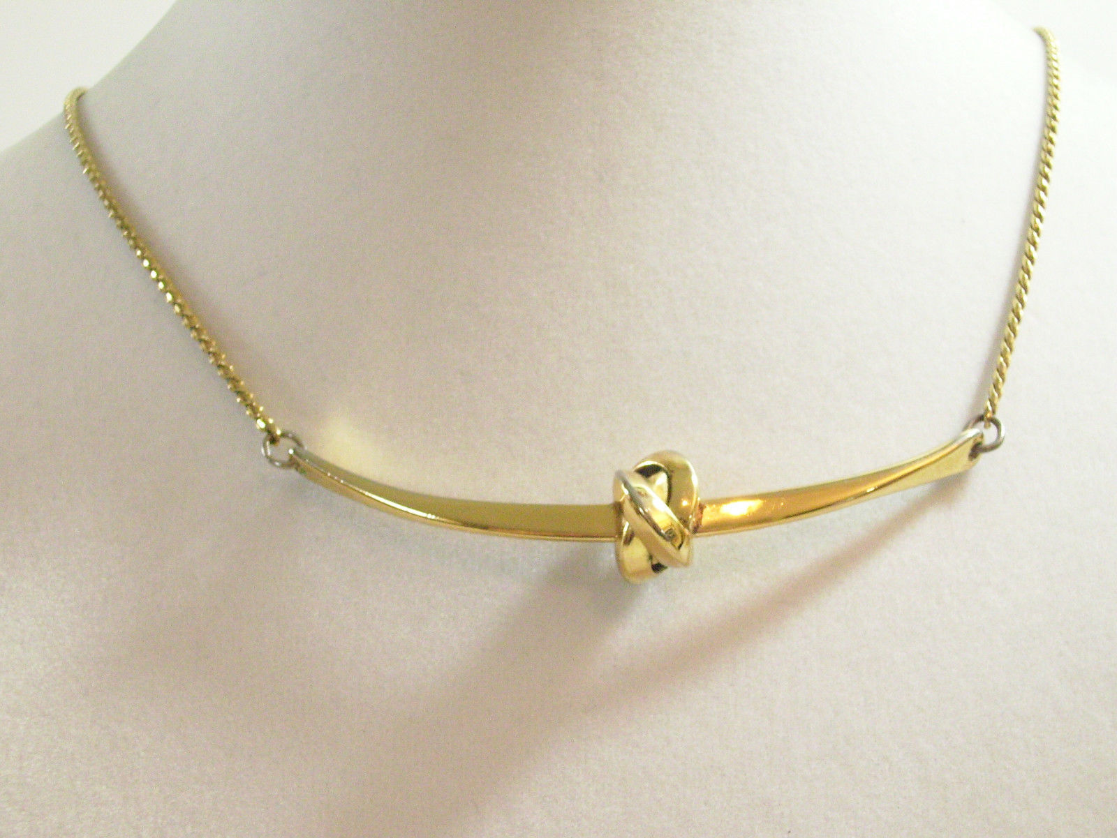 NAPIER LOVE KNOT Bar Gold Plated CHAIN Necklace Choker Vintage STUNNING