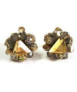 Vintage 1950's Vendome Amber Gold Tone Adjustable Clip Cluster Earrings ... - $12.99
