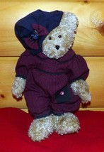 "Boyds Plush 13"" Oatmeal Bear in Burgundy & Navy Check Romper with Soft Hat - $12.79"