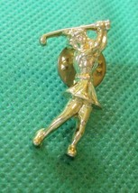 "Lady GOLFER Golf goldtone pinback Pin 1.25"" - $11.99"