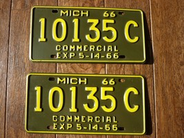 Pair of 1966 6 Months Michigan Commercial License Plate Tag # 10135C Gre... - $23.75