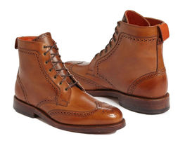Handmade Ankle High Leather Boots, Formal Dress Wing Tip Boots, Men Chel... - $169.99+