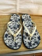 Tory Burch Beige / Blue Flip Flops Thongs Sandals Sz 7. - $32.83