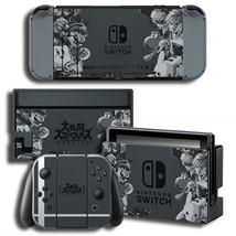 Super Smash Bros Nintendo Switch Joy-Con Dock Console Skin Decals Sticker Black - $9.70