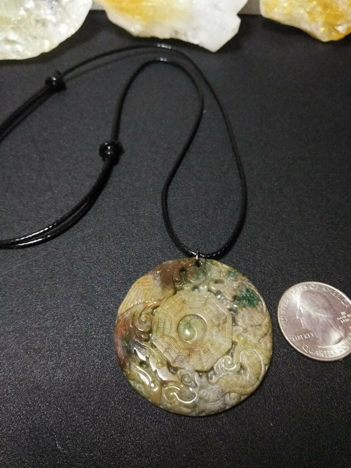 "Necklace, Yin-Yang Symbol W/ Dragon Hand Carved Natural Jasper Women Men ""B"" image 6"