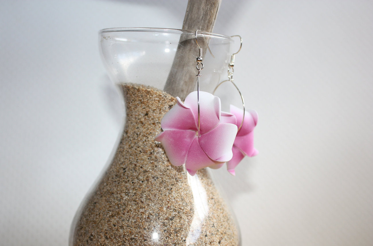 Tropical Pink and White Plumeria Hoop Earrings Handmade on Maui