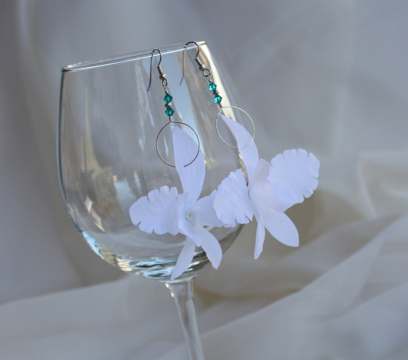 White Silk Orchid Flower Earrings with Swarovski Crystals