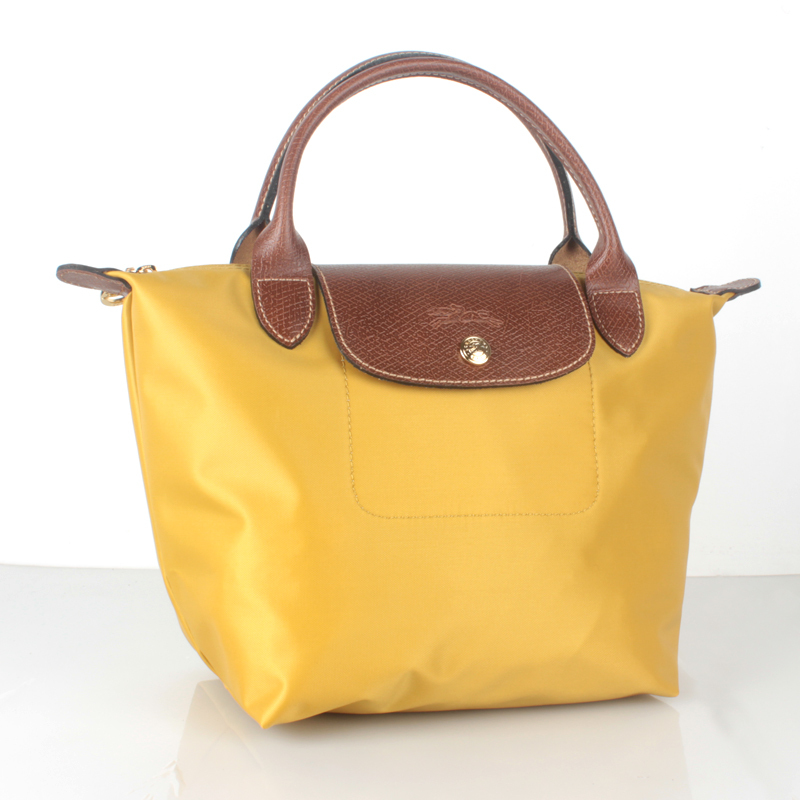 Longchamp Le Pliage Small Short Handel Nylon Handbag Yellow 1621089432