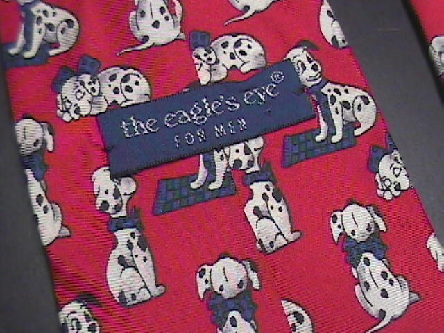 Eagles Eye Neck Tie Repeating Dalmation Puppies on Red Silk