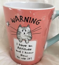 New Cat Coffee Cup Warning I have an Attitude Crazy Cat Lady Christmas G... - $22.43