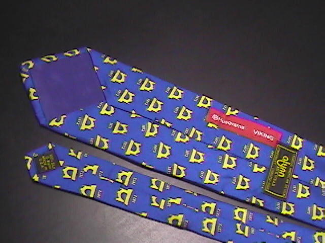 Alynn Neckwear Neck Tie Husqvarna Viking Sewing Machine Blue and Bright Yellows