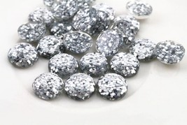80pcs 12mm Round Silver Glitter Resin Cabochon Flatback Craft Jewelry Ma... - $12.00