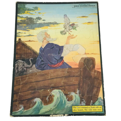 VTG Whitman Religious Noah Bible Picture Puzzle Flat Frame Tray Inlay 1950 - $11.88