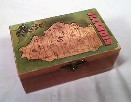 VINTAGE 1950s ILLINOIS STATE SOUVENIR CEDAR WOOD TRINKET BOX - $24.30