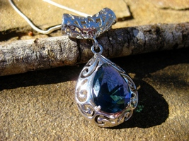 Elite Magickal Haunted Ophanim Angel Portal 925 swiss blue TOPAZ Pendant - $150.00