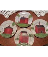 "Set of 4 ""Barns""    by Warren Kimble for Sakura  8.25"" Salad Plates (1998) - $19.75"