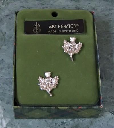 Scottish pewter thistle cufflinks