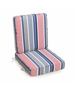 Red White Blue Gray Stripe Outdoor Patio Chair Deep Seat Cushion Set Hinged - $111.24
