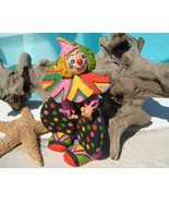 Circus Clown Figurine Hand Made Clay Pottery Pa... - $17.95