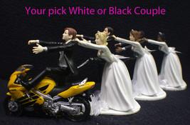 Wedding Cake Topper W/Yellow Honda Motorcycle White Black Hispanic Groom... - $59.28+