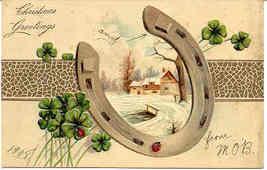 Tis Luck at Christmas Finkenrath vintage 1908 Post Card - $6.00