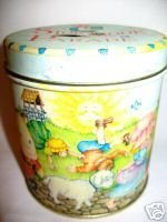 Collectible Vintage STORYBOOK PARADE Piggy Bank Tin Mother Goose Nursery Rhymes