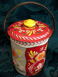 Vintage CARLISLE Confectionery Candy Tin Can With HANDLE Souvenir Collector