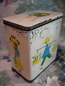 Vintage Coffee Tea Tin ORIENTAL CHINESE MAN Flower Baskets Cart INDIA Girl