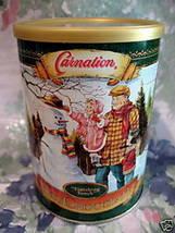 Vintage CARNATION HOT CHOCOLATE TIN Can SNOWMAN WINTER Souvenir Collector  - $12.95