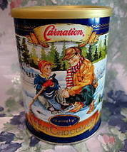 CARNATION HOT CHOCOLATE Tin Vintage Can HOCKEY SKATES Collector Collectible - $12.95